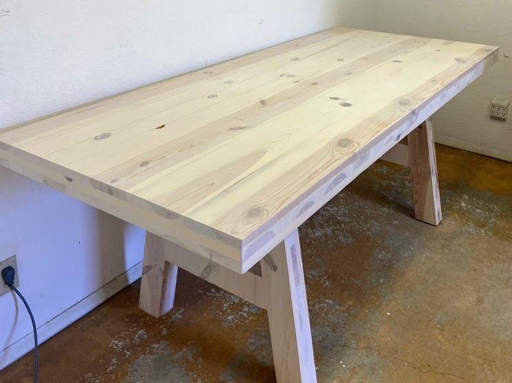 cross laminated timber table made of ponderosa pine